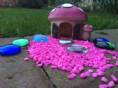 Pink Mushroom House with Pink Gravel & Beads Fairy Garden Kit
